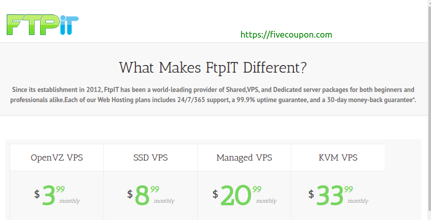 FTPiT Coupon on September 2021 – SSD VPS from $15/Year