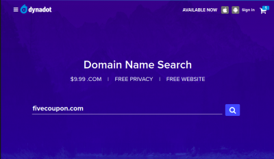 Dynadot Coupon on October 2021 – .COM only $7.99