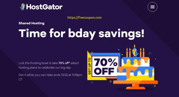 HostGator Coupon October 2021 – Save 65% Off